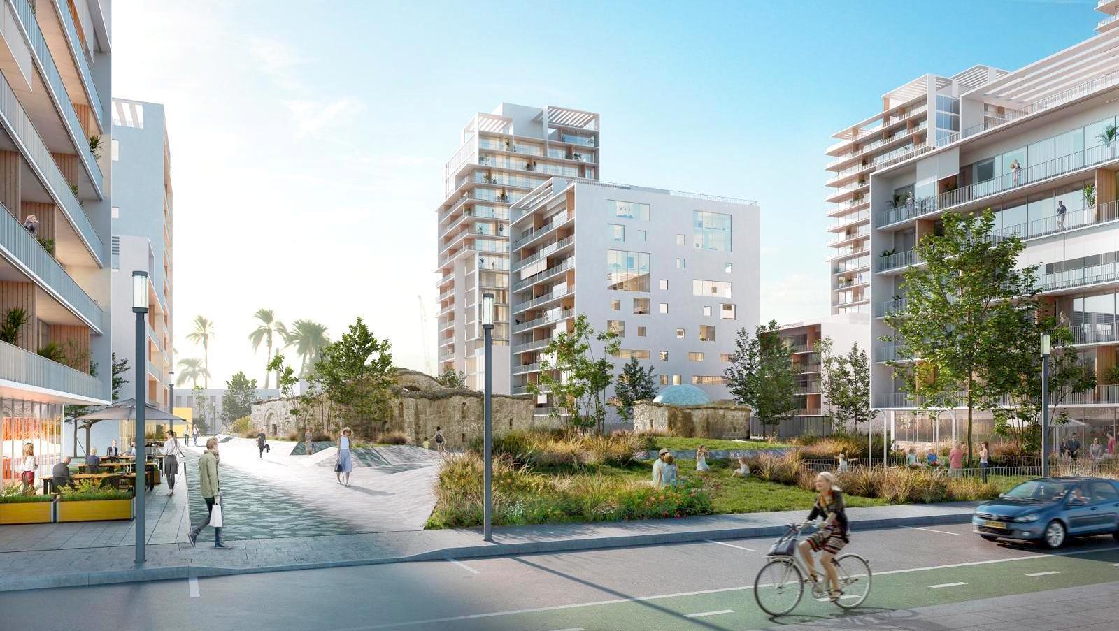 הדמיית הפרוייקט ורחוב טיפוסי בתוכנית בית הקשתות ברמת אשכול. דרמן ורבקל אדריכלות